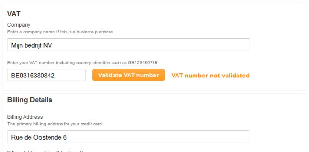 Checkout VAT validation