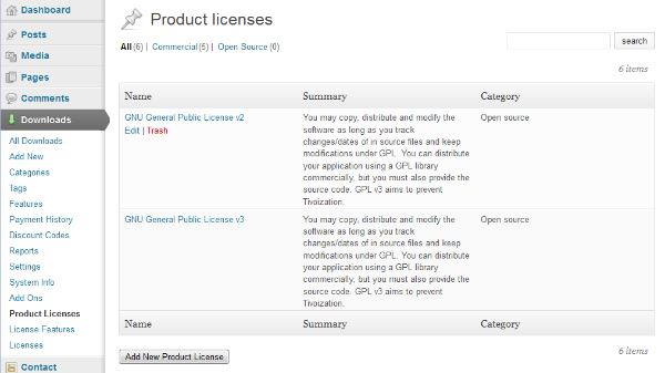 List of product licenses