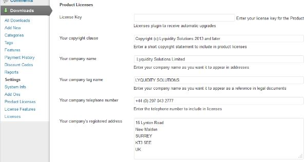 Product licenses settings